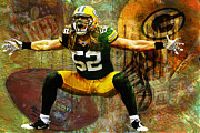 Packers Framed Prints - Clay Matthews Green Bay Packers Framed Print by Jack Zulli