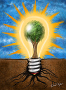 Light Bulb Digital Art Posters - Clean Energy Poster by David Kyte