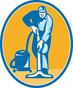 Manual Digital Art Prints - Cleaner Janitor Worker Vacuum Cleaning Print by Aloysius Patrimonio