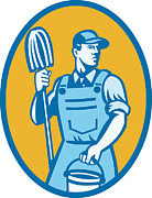Overalls Posters - Cleaner Worker With Mop And Pail Poster by Aloysius Patrimonio