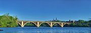 Potomac Prints - Clear Blue Skies At Key Bridge Print by Metro DC Photography