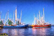 Barry Jones - Shrimp Boats - Dock - Clear Day in Back Bay