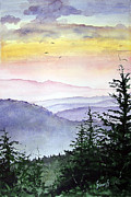 Mountain Painting Metal Prints - Clear Mountain Morning II Metal Print by Sam Sidders