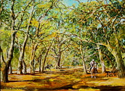 Live Oak Trees Paintings - Clearing in the Live Oak by Jan Mecklenburg