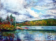 Canoe Pastels Prints - Clearing Skies Print by Jane Baribeau