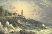 Lighthouse Sunset Posters - Clearing Storms Poster by Thomas Kinkade