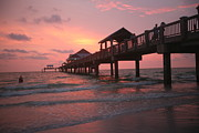Beach Sunsets Originals - Clearwater Beach Pier Fl by Jeffrey Lee