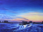 Beach Sunset Paintings - Clearwater Beach Sunset by Penny Birch-Williams