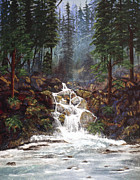 Ferns Paintings - Clearwater Falls by Diane Schuster