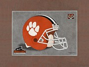 Sec Framed Prints - Clemson Tigers Helmet Framed Print by Herb Strobino