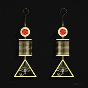 Gold Earrings Prints - Cleo Ear Gear Print by Walter Neal