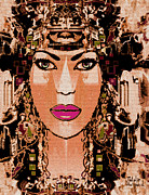 Gold Earrings Mixed Media Posters - Cleopatra Poster by Natalie Holland
