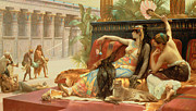 Cushions Prints - Cleopatra Testing Poisons on Those Condemned to Death Print by Alexandre Cabanel