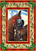 Cleveland Drawings Framed Prints - Cleveland Bay Horse Christmas Card Framed Print by Olde Time  Mercantile