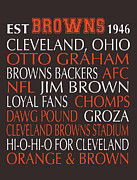 Nfl Digital Art Metal Prints - Cleveland Browns Metal Print by Jaime Friedman