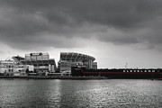 Cleveland Posters - Cleveland Browns Stadium From The Inner Harbor Poster by Kenneth Krolikowski