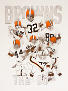 Cleveland Browns Drawings Framed Prints - Cleveland Browns - The 60s Framed Print by Joe Lisowski