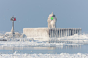 Wintertime Photos - Cleveland Harbor East Pierhead Light by Clarence Holmes