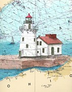 Cleveland Painting Posters - Cleveland Harbor Lighthouse OH Nautical Chart Map Art Cathy Peek Poster by Cathy Peek