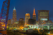 Terminal Prints - Cleveland Night Skyline II Print by Clarence Holmes