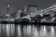 Cleveland Framed Prints - Cleveland Night Skyline III Framed Print by Clarence Holmes