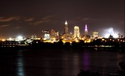 Skyline Pyrography Framed Prints - Cleveland Nightime Skyline Framed Print by Daniel Behm
