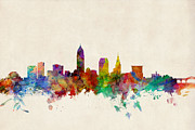 Silhouette Digital Art - Cleveland Ohio Skyline by Michael Tompsett