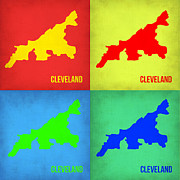 Cleveland Digital Art Framed Prints - Cleveland Pop Art map 1 Framed Print by Irina  March