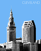 Cleveland Skyline 1 - Light Blue Print by DB Artist