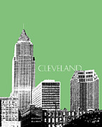 Cities Digital Art Metal Prints - Cleveland Skyline 2 Metal Print by Dean Caminiti