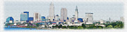 Watercolor Digital Art Originals - Cleveland Skyline by Anthony Caruso