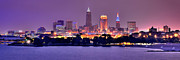 Evening Prints - Cleveland Skyline at Night Evening Panorama Print by Jon Holiday