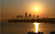 Skyline Pyrography Framed Prints - Cleveland Skyline at Sunrise Framed Print by Daniel Behm