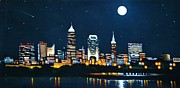 Black Velvet Painting Originals - Cleveland Skyline by Thomas Kolendra