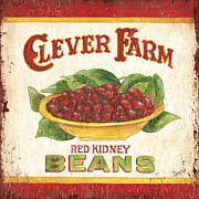 Old Painting Posters - Clever Farms Beans Poster by Debbie DeWitt