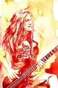 Rock Guitar Paintings - Cliff Burton Playing Bass Guitar Portrait.1 by Fabrizio Cassetta
