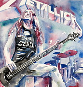 Metallica Painting Posters - Cliff Burton Playing Bass Guitar Portrait.2 Poster by Fabrizio Cassetta