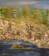 Rocks Paintings - Cliff by the Sea by Suzanne Surber