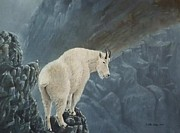 Mountain Goat Painting Prints - Cliff Hanger Print by Gilles Delage