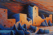 Southwest Landscape Paintings - Cliff Palace by Moonlight by Jerry McElroy