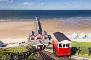 Cleveland Prints - Cliff Railway Saltburn by the Sea Print by Colin and Linda McKie