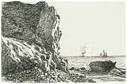 Boat Drawings Prints - Cliffs and Sea Sainte-Adresse Print by Claude Monet