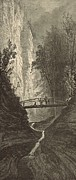 New York State Drawings - Cliffs at Glen Cathedral in Watkins Glen by Antique Engravings