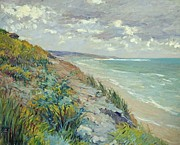 Ocean Shore Painting Posters - Cliffs by the sea at Trouville  Poster by Gustave Caillebotte