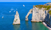Rocks Prints - Cliffs of Etretat France Print by Julia  Fine Art