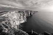 Atlantic Ocean Metal Prints - Cliffs of Moher Ireland in Black and White Metal Print by Pierre Leclerc
