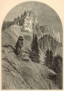 19th Century America Drawings Posters - Cliffs on the Yellowstone Poster by Antique Engravings