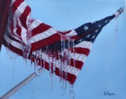 Star Spangled Banner Painting Metal Prints - Climate Change Metal Print by Viktoria K Majestic