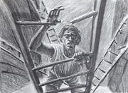 Self Portraits Art - Climbing A Broken Ladder  by Jon David Gemma