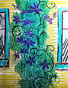 Vine Pastels - Climbing Purple Vines by Cindy Boyd